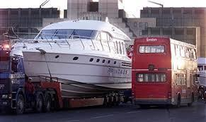 Yacht on its way to Earls Court